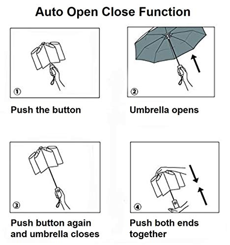 Umbrella with Wooden Handle – Lightweight, Portable and Compact, Ideal for Travel – City Umbrella with Auto Open Close Function - Umbrella Windproof for Men