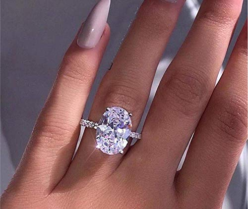 Weishu Classic Promise Ring 925 Sterling Silver Oval Cut 3ct AAA CZ Zircon...