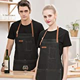 Amycute Unisex Grembiule Jeans da Lavoro,Tool Grembiuli 3 Tasche Uniforme di Moda Caffettiera Cuoco Cucina Giardiniere per Parrucchiere,Server,BBQ,caffè(Nero)