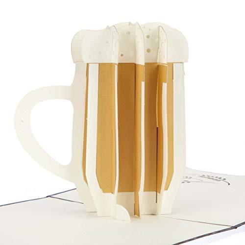 Beer Fathers Day 3D Card - 'Bier maakt je niet vet' Pop Up Card, Grappige Verjaardagskaarten voor Heren | 15 x 15 cm | Handgemaakte Kaarten door Cardology