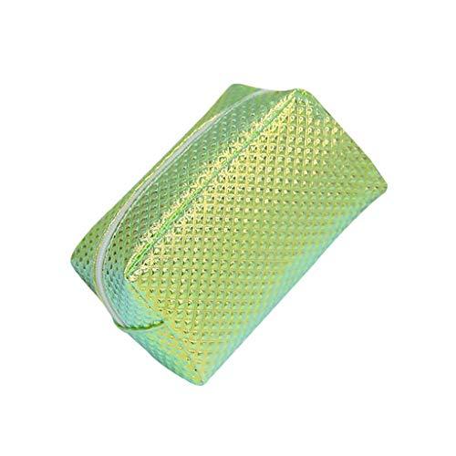 XYZMDJ Sac cosmétique, cosmétique Sac à Carreaux Brillant PU Wash Case Sac étudiant Crayon Waterproof (Color : Green)