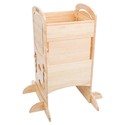 KiddyMoon Lernturm Für Kinder Baby Lernstuhl Montessori Küchenhelfer ST-002, Naturholz