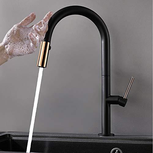 GCP Mezclador de Cocina de una Sola Palanca abatible Simple Touch con función Doble en latón Negro y Dorado Macizo