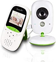 "SereneLife USA Video Baby Monitor - Upgraded 850' Wireless Long Range Camera, Night Vision, Temperature Monitoring and Portable 2"" Color Screen with Clip - SLBCAM10.5, Green"