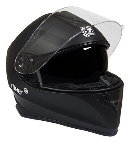 Römer Helmets Fuerth Motorradhelm mit integriertem schwarzen Visier, Schwarz, Größe XL