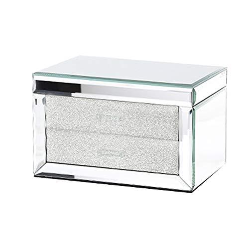 YUXO Sieradendoos voor Vrouwen Jewelry Box Glas Transparant Double Layer De grote capaciteit sieraden Vitrine Versatile Showcase for de hand sieraden Cadeau voor Meisje (Color : White)