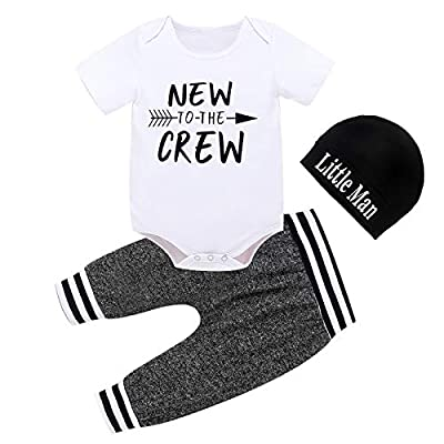 Baby Boy Clothes Summer Newborn 3Pcs Infant Romper Short Sleeve + Pants + Hat Outfits Set New to The Crew Letter Printed White 0-3 Months 70cm from CETEPY