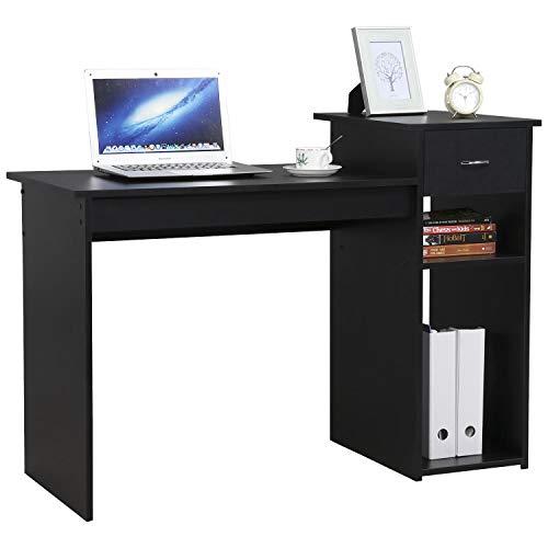 Yaheetech Schreibtisch Computertisch 112 x 50 x 82 cm, Bürotisch mit Schublade, Arbeitstisch 2 Ablage aus MDF, PC Tisch in Schwarz