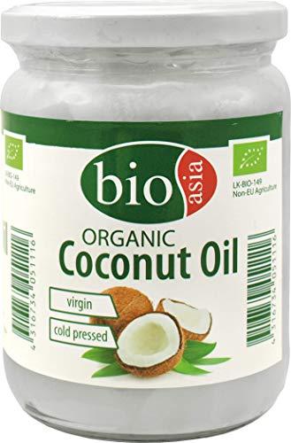 BIOASIA Bio Kokosöl, kaltgepresst, naturbelassen ohne Zusatzstoffe, veganes Fett zum Kochen, Braten & Backen, auch als Naturkosmetik verwendbar, 100 {2d4aa5ebb75d408083a78b66867ae2c9573ea2dad7613d324397a8cc9fae98af} Bio, 500 ml