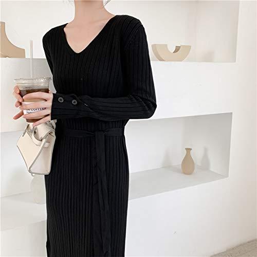 LFMYQ Herbst Pullover Kleid Frauen Strickkleider Frau Overknee Pullover Kleid mit Gürtel Frauen Hohe Taille Split V-Ausschnitt Kleider One Size Schwarz