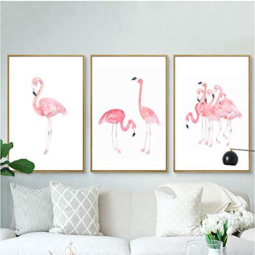 Rosa Flamingos Leinwandbilder Prinzessin Wandkunst Tiere Nordic Poster Drucke Bilder für Kinderzimmer Wohnkultur 50x70cmx3 Ungerahmt