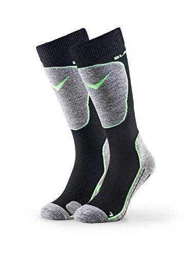 Black Crevice 31-34 Paire de chaussettes de ski pour homme Noir/vert
