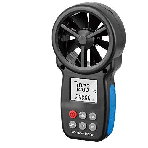 SUIWO Windmesser Anemometer Handdigital Windgeschwindigkeit Meter-Messgerät Luftströmungsgeschwindigkeit Thermometer Multifunktions-Tester Taupunkt Höhe Temperatur-Test (Farbe : Schwarz)