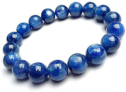 YANSJD Pulsera elástica de Cuentas de Piedra de cianita Azul Natural Xuyang, joyería de Cristal para Hombres y Mujeres