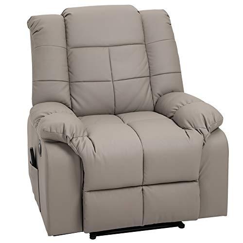 HOMCOM Massagesessel, Fernsehsessel, Relaxsessel mit Massagefunktion, Heizfunktion, Liegefunktion, PU-Leder+MDF+Metall+Schaumstoff, Grau, 90 x 97 x 99 cm