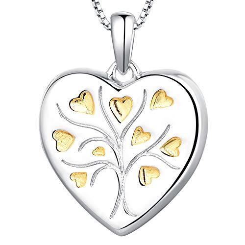 Starchenie Heart Locket Necklace Personalized Sterling Silver Tree of Life Locket Photo Lockets for Women Girls