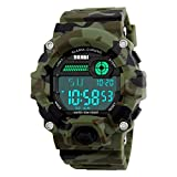 FeiWen Deportivo Relojes de Hombre Digitales 50M Impermeable Camuflaje Plástico Bisel con Goma Correa LED Electrónica Multifuncional Outdoor Militar Reloj de Pulsera
