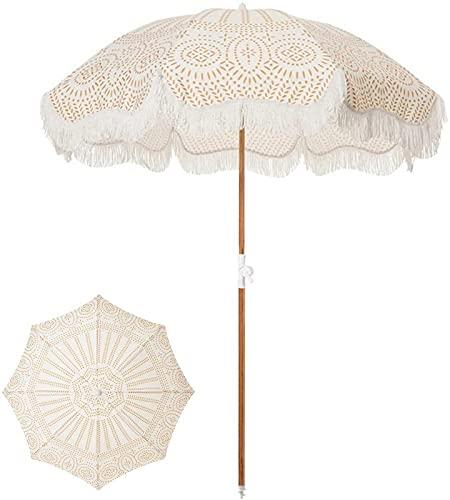 Z-DYQ Sombrilla Paraguas de Patio con Flecos de 6 pies Paraguas de Patio Exterior con botón de pulsador Tilt UPF 50+ Color de Madera Poste de Acero y Costillas de Acero (Color : -, Size : -)