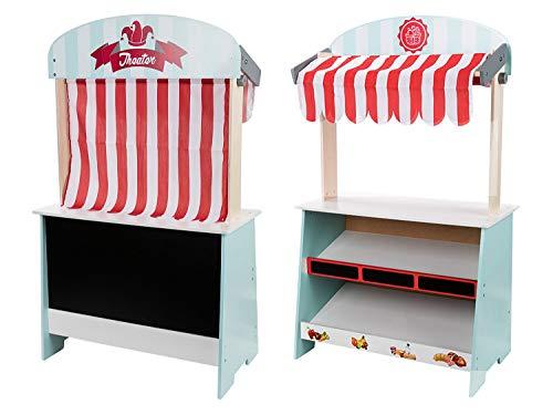 PLAYTIVE Marktstand / Kaufmannsladen & Theater 2in1 aus Holz, Auslage / Regal & Wandtafel