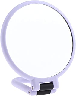 Blesiya Premium Ladies Women Makeup Mirror Men Folding Shaving Mirror with Stand | Perfect for Travel/Office Desk | with 5x Magnification/10x Magnification - Purple - 10x Magnification, 13.5x15x2.5 CM