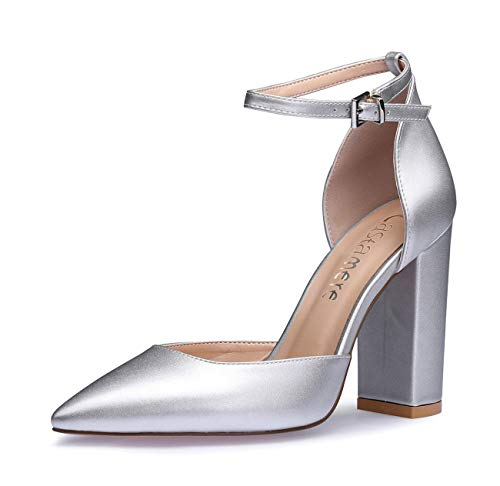 CASTAMERE Damen Ankle-Strap Sandalen Spitzen Zehen Rechteckig Blockabsatz Pumps 10CM Silber Pu Schuhe EU 39