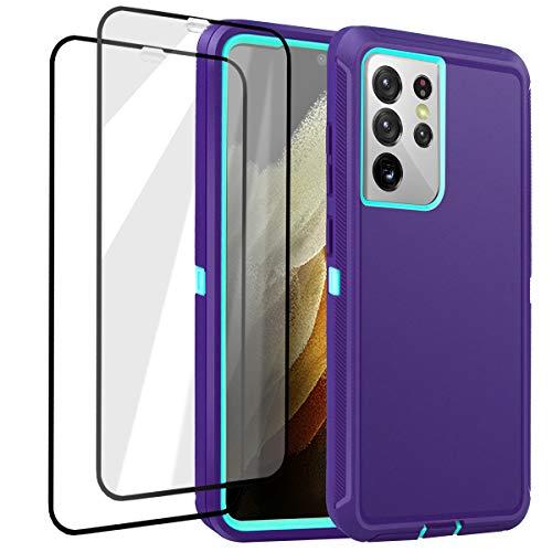 AICase Funda para Samsung Galaxy S21 Ultra 5G con Protectores de Pantalla Carcasa Protectora Funda Anti-Caídas,Funda de protección Triple Capa para Samsung S21 Ultra 6.8 Pulgadas 2021 (Azul Morado)