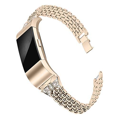 XIALEY Bandas De Repuesto Compatible con Fitbit Charge 2, Correa Ajustable De Metal Pulsera De Acero Inoxidable para Mujer con Diamantes De Imitación para Charge 2 Smart Watch,Vintage Gold