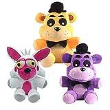 yskcsry 3 Unids / Set Cinco Noches En Freddy'S Nightmare Bear Y Fox Muñecas De Peluche Suave Animales Juguetes De Peluche para Niños Regalos 18Cm