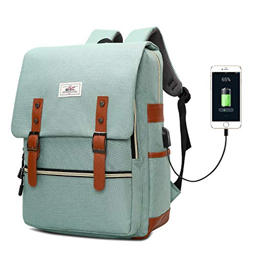 Slim Vintage Laptop Backpack, Unisex School Bag College Rucksack for Girls Boys, Water Resistant Work Travel Backpack for Women Men with USB Charging Port, Fits 15.6 Inch Laptop Notebook