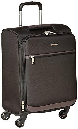 Amazon Basics - Maleta blanda con ruedas giratorias, 54 cm, para equipaje de mano, Negro