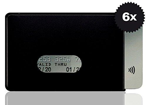 OPTEXX® RFID-Schutzhülle TÜV geprüft & zertifiziert Fred Schwarz für Kreditkarte | EC-Karte | Personal-Ausweis aus Hart-Plastik-Hülle sicheres Blocking von Funk Chips (Schwarz 6x)