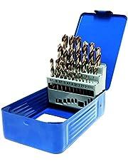 S&R Juego de brocas para metal Set 1-13mm 118 °, Caja con 25 Brocas Rectificadas, serie GM DIN 338, HSS - acero metal. Calidad profesional