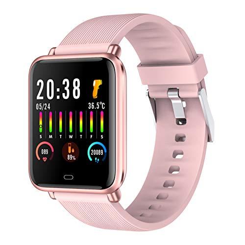BNMY Smartwatch, Reloj Inteligente Impermeable IP67 Pulsera Actividad Inteligente Deporte para Mujer Hombre Niños con Pulsómetro, Monitor De Sueño, Podómetro, Calorías para iOS Y Android,Rosado
