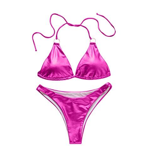 fgsdd Traje de baño de dos piezas para mujer, sexy, para playa, traje de baño rojo M