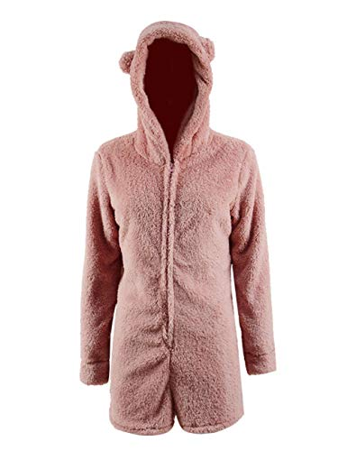 Missfamo Ladies Cute Long Sleeve Sleepwear Fleece Hooded Cozy Sherpa Romper Fluffy Pajamas Short (Pink, M)