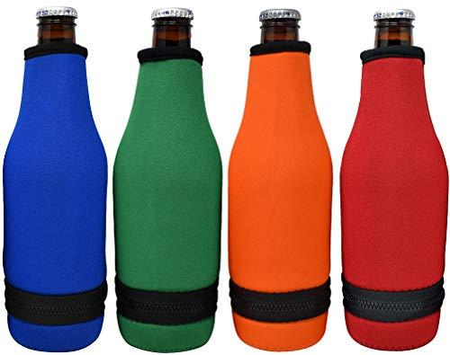 TahoeBay 4 Beer Bottle Sleeves - Easy-On Bottom Zipper - Extra Thick Neoprene Blank Drink Cooler (Multicolor, 4)