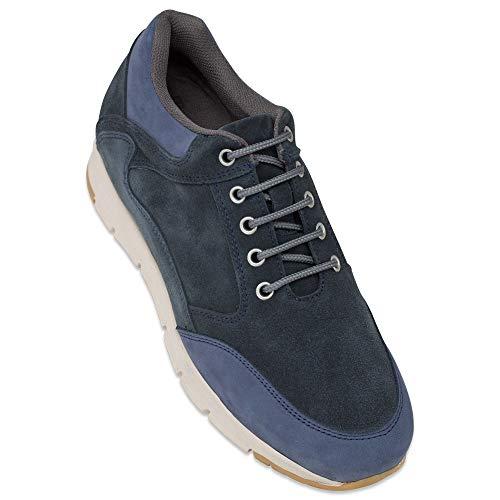 Zapatos de Hombre con Alzas Que Aumentan Altura hasta 7 cm. Fabricados en Piel. Modelo Berna Azul 42