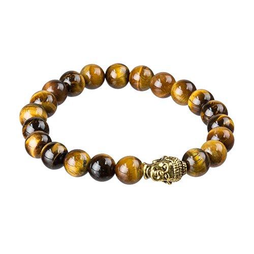 Agar Creations - Pulsera de Buda vintage de 8 mm para hombre y mujer, con piedras preciosas – Yoga Meditación Mala