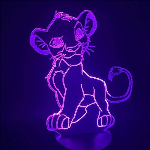 7 Couleurs Changent Lumière D Illusion 3D Cartoon Nuit Lumière Lion Roi Simba Led 3D Lumière Couleur Nouveauté Lampe Chambre Lampe De Chevet Cadeau De Noël Maison
