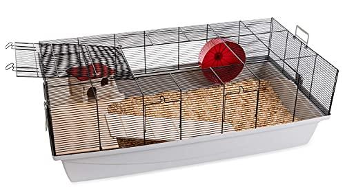 PETGARD Mäuse- und Hamsterkäfig, großes Nagerhaus mit Holzetage, Komplettset mit Laufrad und weiterem Zubehör, 100x54x35 cm, Elmo XXL