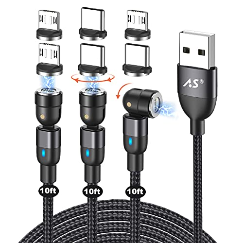 Magnetic Charging Cable 10ft (3pack), A.S 3 in 1 Magnetic USB Data Cable, 360°& 180° Rotation Nylon Braided Cord Magnet Phone Charger Compatible with Mirco USB, Type C