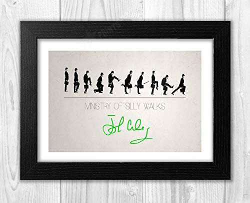 Engravia Digital John Cleese Ministry of Silly Walks Reproduction Autograph Signed Poster Photo A4 Print (Black Frame)
