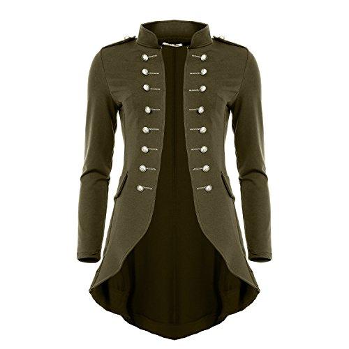 Mayaadi 6066 Damen Jacke Blazer Admiral Uniform Mantel mit Military Knopfleiste Vokuhila (XL, Olive)