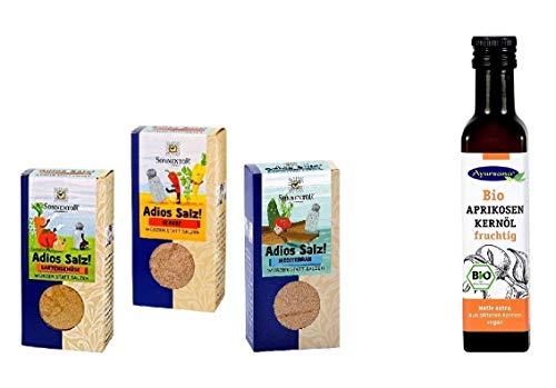 Sonnentor - 3er Set Adios Salz Gewürzmischungen - Scharf, mediterran, Gartengemüse (165 g) mit Ayursana Aprikosenkern-Öl (250 ml)