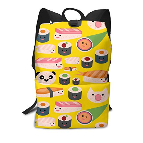 Liumong Best Cute Sushi Japanese Panda Roller Book Bag Holder Travel Back Backpack School Travel Hiking Small Mini Gym Teen Little Girls Youth Kid Women Men Printed Patterned Themed Bookbags