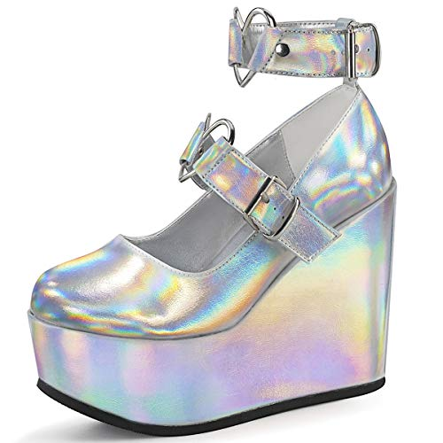 Demonia POISON-99-2, SLV Hologram Vegan Leather - Größe: 40/41 EU