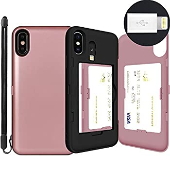 iPhone Xs Max Case SKINU [XS Max Wallet Strap] Xs Max Charger Dual Layer Hidden Credit Holder Card Case with Wrist Strap Inner USB to 8 Pin Adapter and Mirror for iPhone Xs Max  2018  - Rose Gold