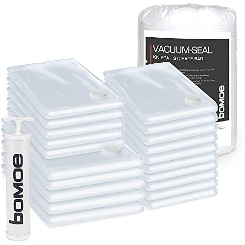 bomoe Vakuumbeutel für Kleidung & Bettwäsche - Vakuumier Set 20tlg. in div Größen + Pumpe - Vakuumierbeutel Kleideraufbewahrung & Organisation - Kleidersack Vakuum Tüte wiederverwendbar - Knippa