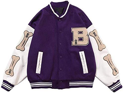 ccaat Herren College Jacke Baseball Sportjacke Sweatjacke Baseballjacke Unisex Collegejacke Oldschool Varsity Jacket Sweatjacke Brief Streetwear (A Violet,M)