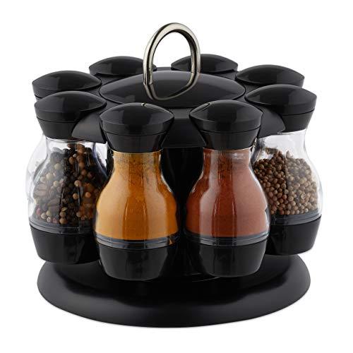Relaxdays Gewürzkarussell, mit 8 Gewürzstreuern, 360° drehbar, tragbar, Kunststoff, HxD 17 x 19 cm, schwarz/transparent